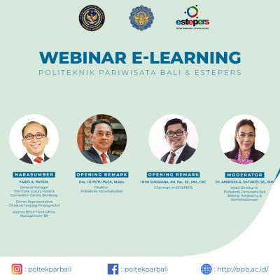 "Prodi MKH Poltekpar Bali bersama Estepers Gelar E-Learning  ""Destination and Venue Marketing"""
